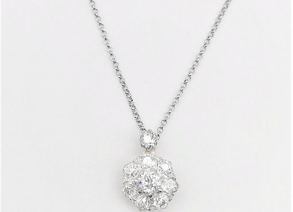 Victorian Gold 9 Stone Diamond Cluster Pendant