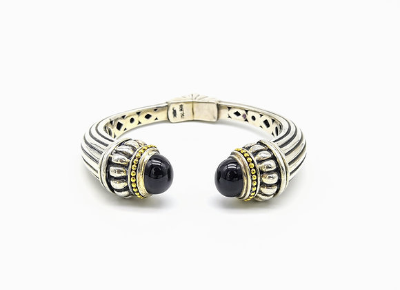 Silver & Onyx Hinged Bangle