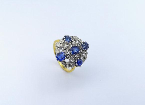 18ct & Platinum Sapphire & Diamond Dress Ring