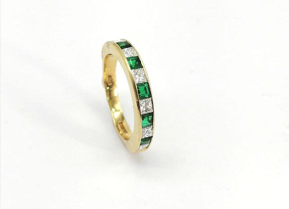 18ct Emerald Diamond Half Eternity Ring