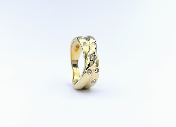 9ct Diamond Set Twin Cross Over Ring