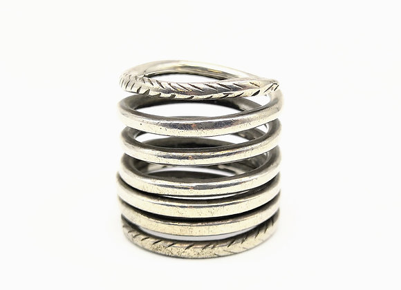 Silver Coiled Snake Roman Ring