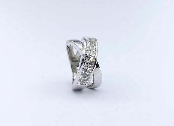 White Gold Square Cut Diamond Cross Over Ring
