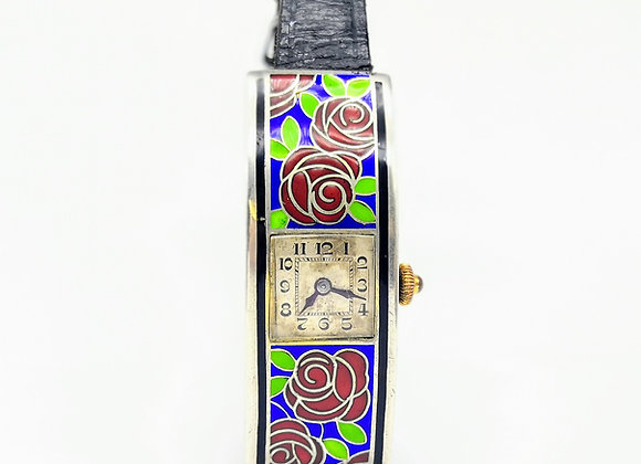 Silver Enamel Art Deco Watch