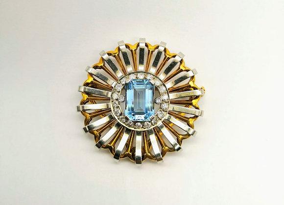 Diamond & Aquamarine Brooch