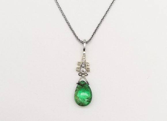 Platinum Emerald & Diamond Pendant