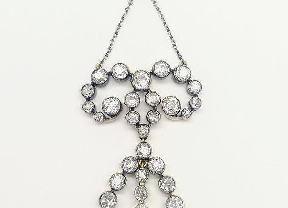 Platinum Diamond & Natural Pearl Edwardian Pendant