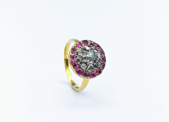 18ct & Silver Diamond  & Ruby Cluster Ring