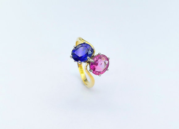 18ct Pink & Blue Sapphire Ring