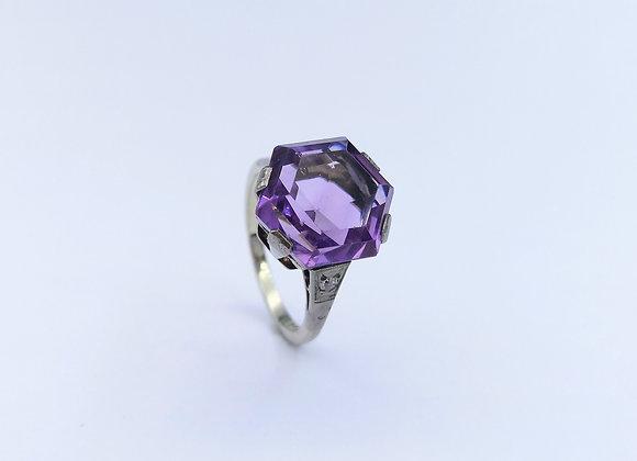 9ct Hexagon Amethyst & Diamond Ring