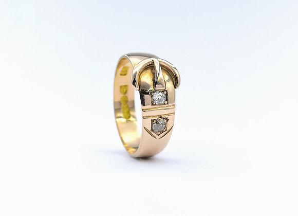 9ct Buckle Ring Two Brilliant Diamonds