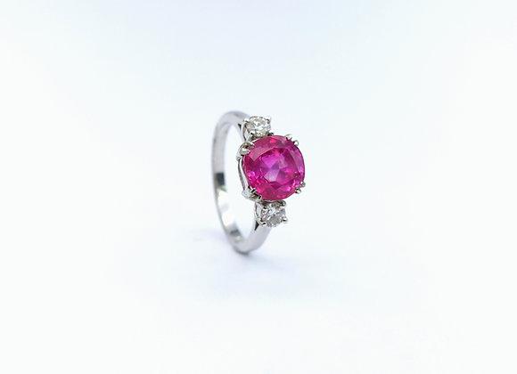 18ct Pink Sapphire & Diamond 3 Stone Ring