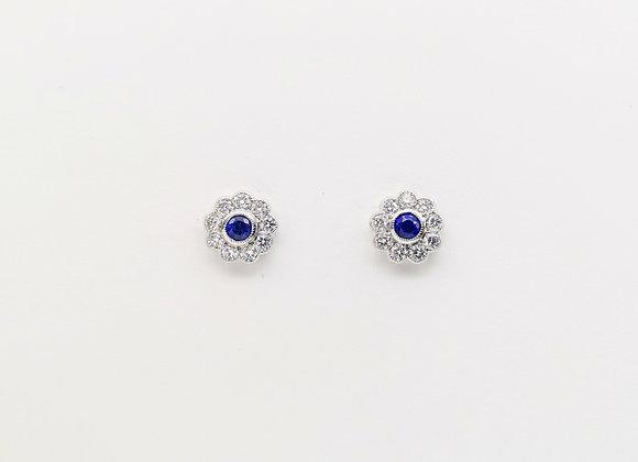 Platinum Sapphire & Diamond Stud Earrings