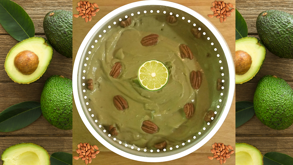 Vegan Gluten Free Key Lime Pie surrounded by avoocados at Writingahealthylife.com