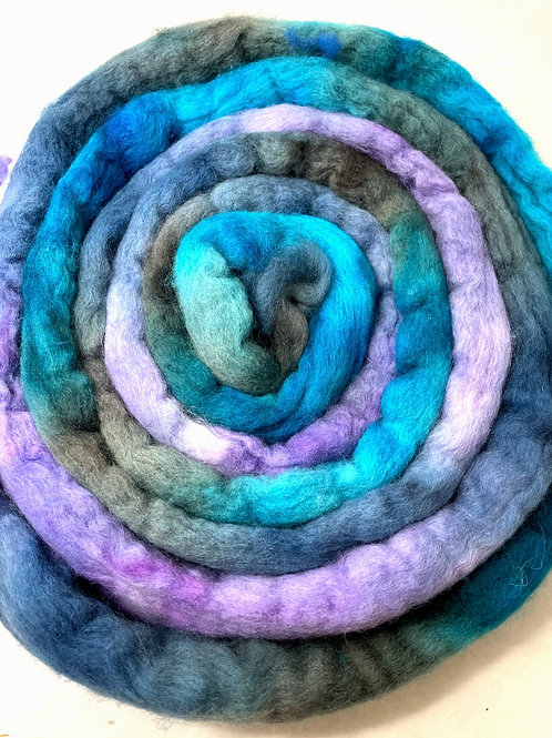 4 oz. Snow Cone Hand Dyed Roving - Hoof-To-Hanger
