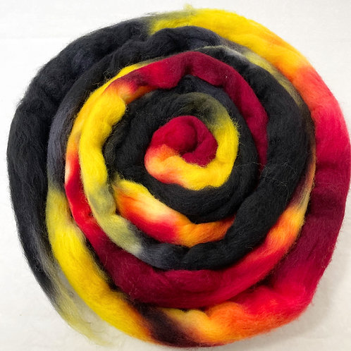 4 oz. Firehouse Hand Dyed Roving - Hoof-To-Hanger