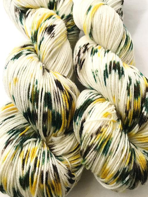 Lemon Pistachio Fingering Weight Merino/Nylon/Tencel SW Yarn - Hoof-To-Hanger