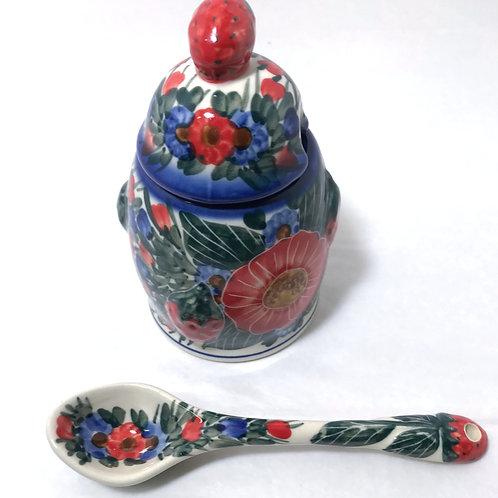 Jam Jar and Spoon - Polish Pottery