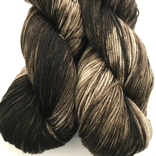 Variegated Pecan Brown Fingering Weight Merino/Cash/Nylon SW Yarn-Hoof-To-Hanger