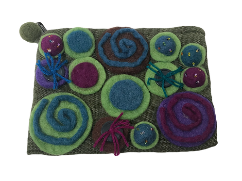 Hand Clutch - Felted on Cotton Canvas