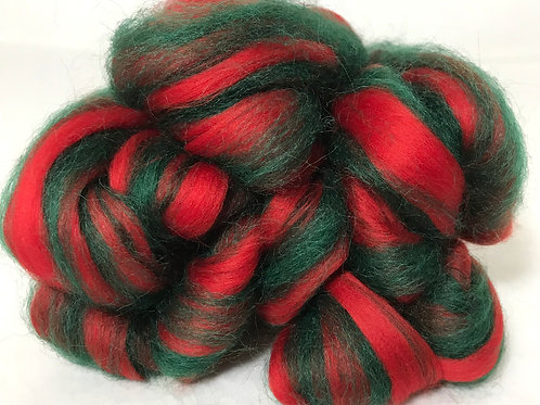 4 oz. Holly Berry Roving - Hoof-To-Hanger
