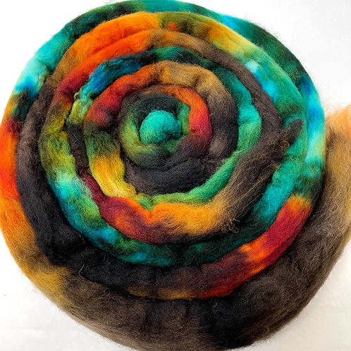 SOLD OUT - 4 oz. Fall in the Woodlands Hand Dyed Roving - Hoof-To-Hanger