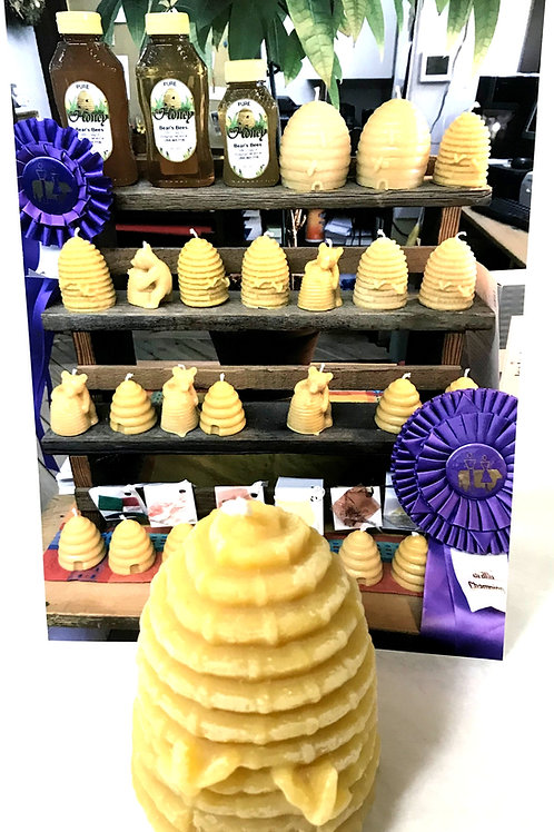 Bear's Bees Medium Beehive Beeswax Candle