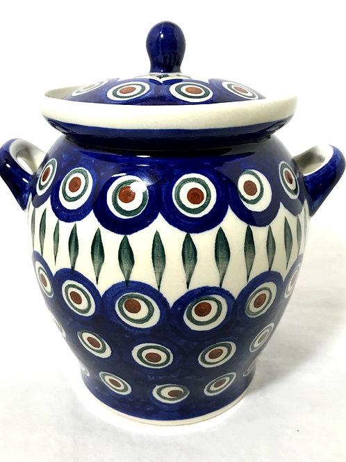 Jar with Lid and Handles - Polish Pottery