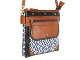 Woodblock Navy Dawn - Upcycled Leather Bag - Vaan & Co.