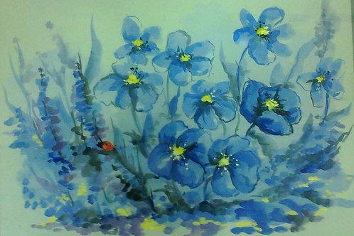 """Картина """"Синие цветы"""""""