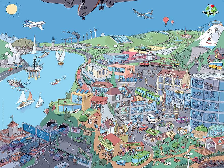 Poster paysage pour le kit Objectif terre, S'impliquer pour la planète, J'aime ma planète, réalisé par Eric Buche