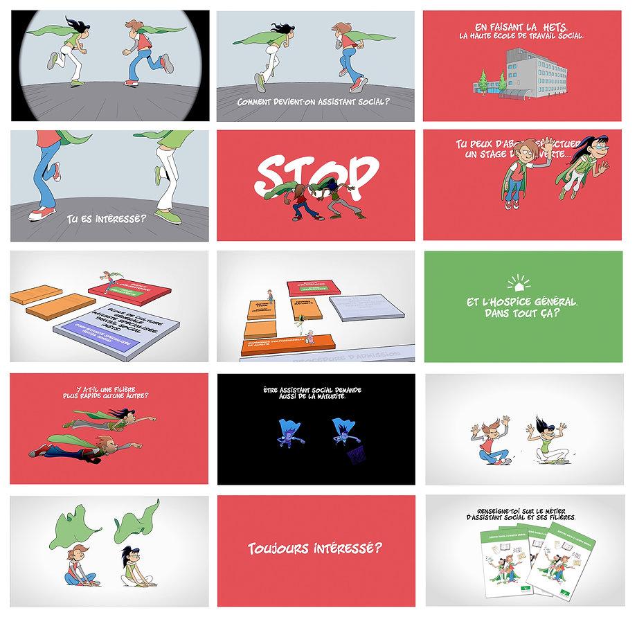 Extraits du film d'animation Tu veux devenir assistant social? Hospice général, Cité des métiers, réalisé par Eric Buche