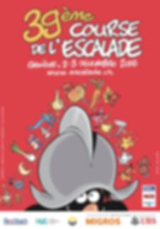 Affiche de la 39ème course de l'Escalade, 2-3 décembre 2016, réalisée par Eric Buche