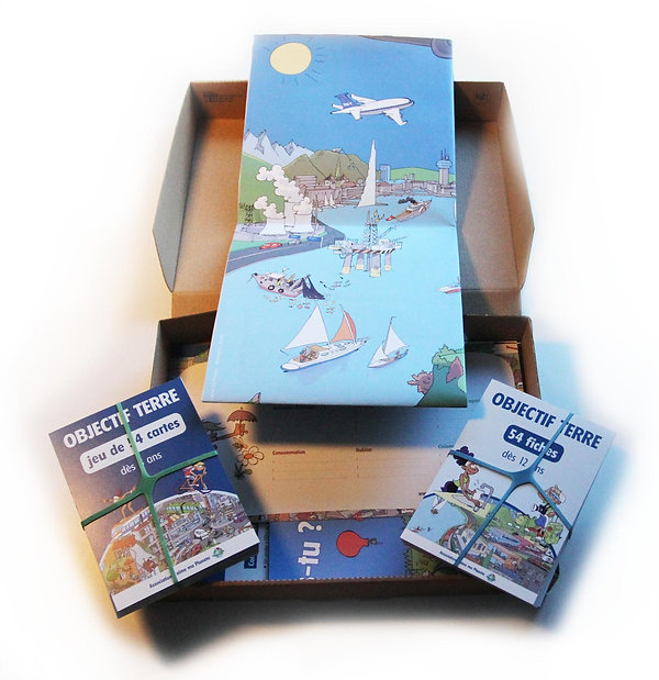 Objectif Terre, S'impliquer pour la planète, le kit, édition J'aime ma planète, dessins Eric Buche