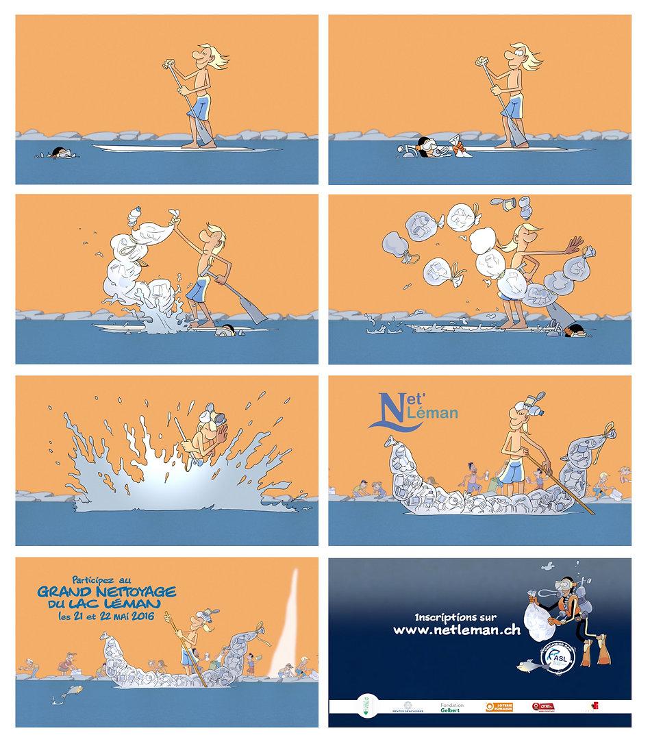 Extraits du film d'animation Net'Léman, Participez au grand nettoyage du lac Léman les 21 et 22 mai 2016, par Eric Buche