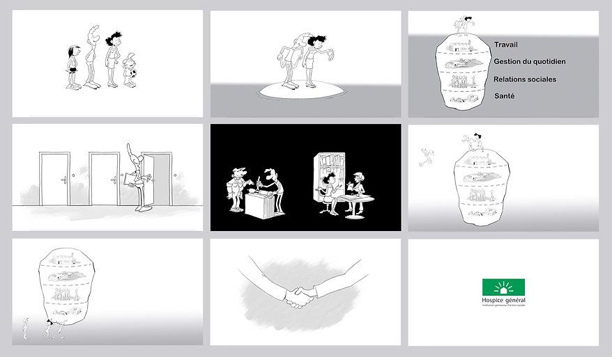 Extraits du film d'animation Le partenariat, Hospice général, réalisé par Eric Buche
