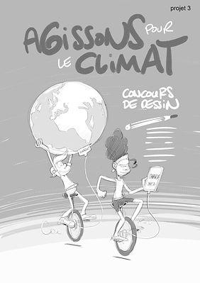 Projet d'affiche pour Agissons pour le climat, concours de dessin, J'aime ma planète, réalisée par Eric Buche 2016