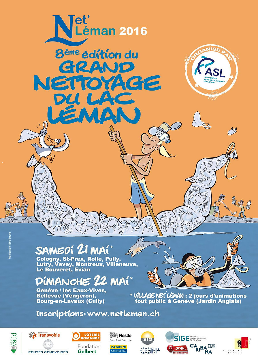 Affiche de la 8ème édition de Net'Léman, le grand nettoyage du lac Léman, 2016, réalisée par Eric Buche