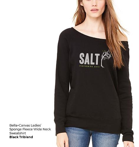 SALT Logo Ladies' Sponge Fleece Off-the-Shoulder Sweatshirt
