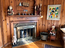 Holiday fireplace on West Chester Public Library Holiday Home Tour