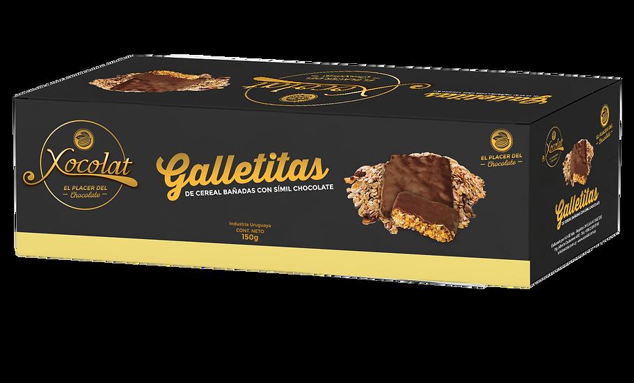 Galletitas de cereal bañadas en cobertura de chocolate semi amargo