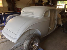1934 Ford Coupe Rear high build primer applied