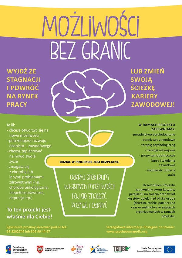 plakat projektu wsparcia osób wykluczonych społeczenie Możliwości bez granic