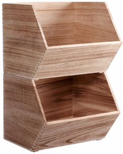 Large Stackable Wooden Bin
