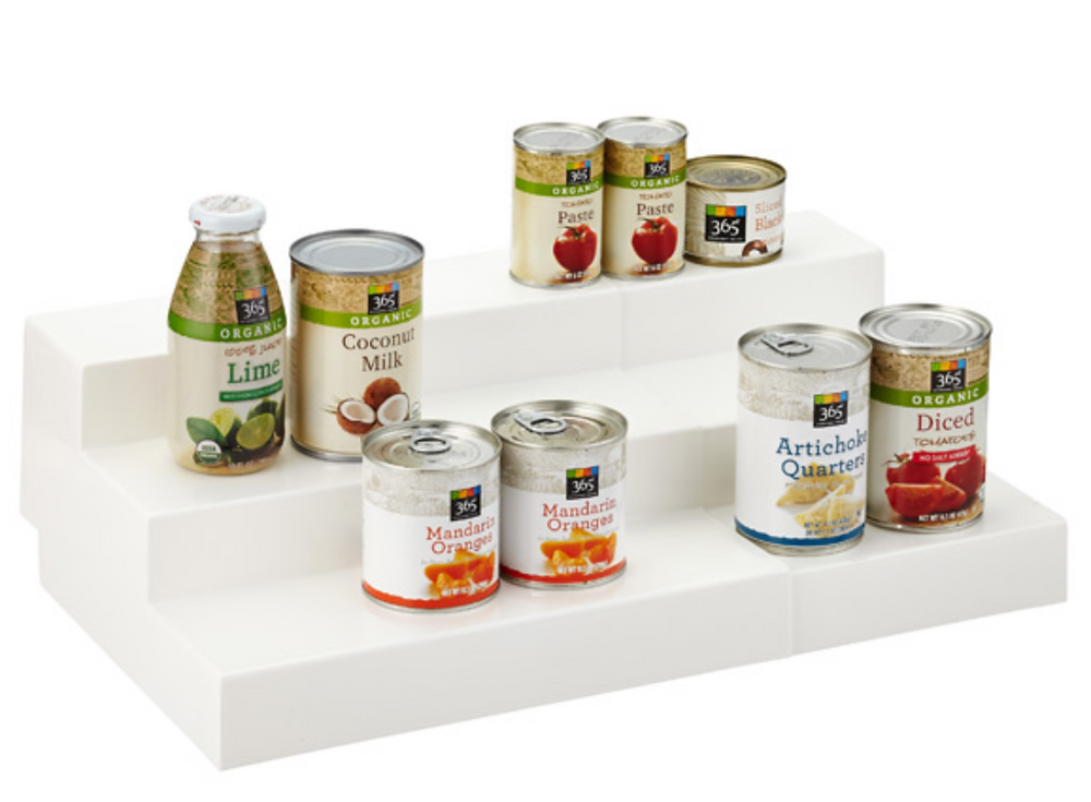 Expand-a-shelf 3-tier organizer for cans (LARGE size)