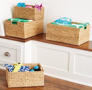 Water Hyacinth storage bins with handles from The Container Store