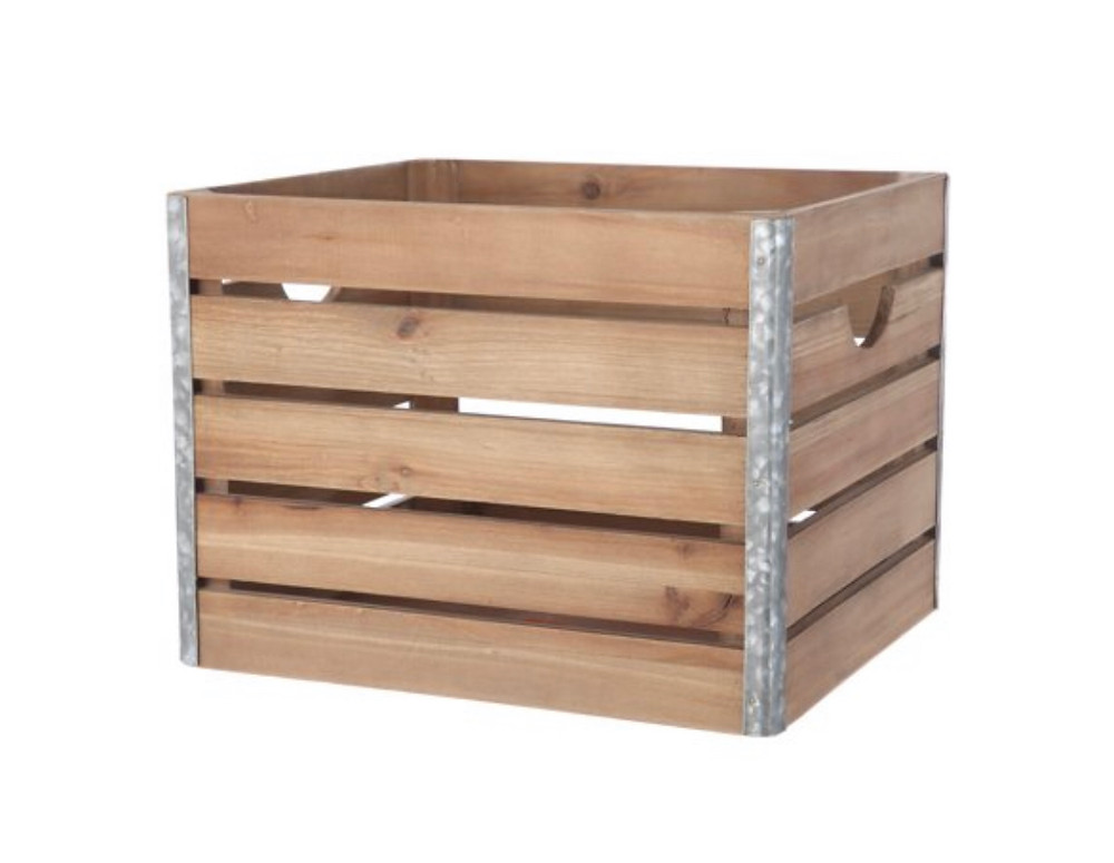 wood crate with metal trim