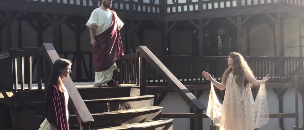 Hecuba (Molly Graves), Menelaus (Dakota Mann), and Helen (Ariel Robinson)