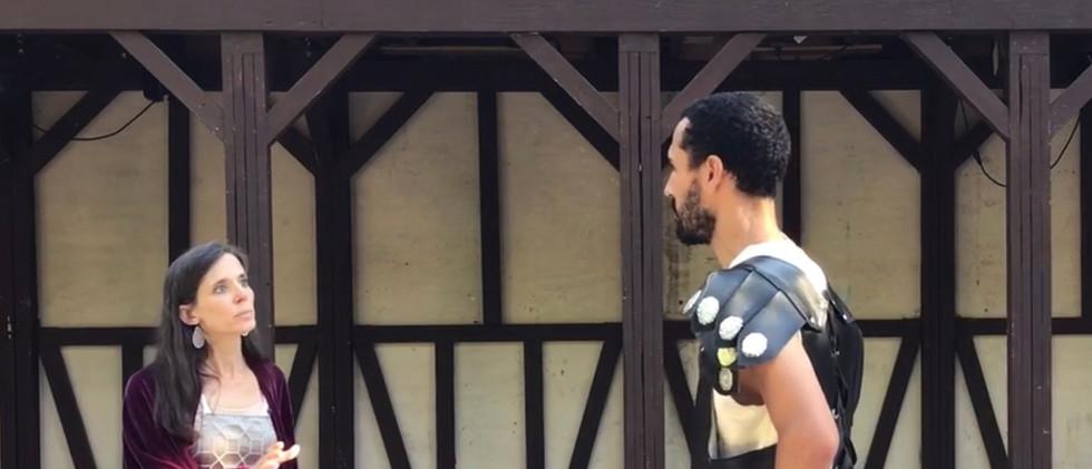 Hecuba (Molly Graves) and Talthybius (Aaron Ybarra)