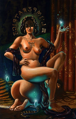 crescent, seo, illustration, art, painting, artist, painter, tarot, the empress, nude